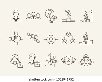 Business team icons. Line icons collection on white background. Meeting, cooperation, support. Company concept. Vector illustration can be used for topic like business, success, human resources