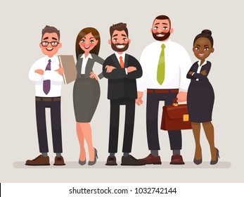 Business team. International cooperation of companies. Vector illustration in cartoon style