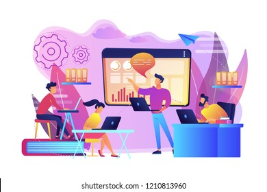 Business team with laptops look at digital presentation with charts. Digital presentation, office online meeting, visual data representation concept. Bright vibrant violet vector isolated illustration