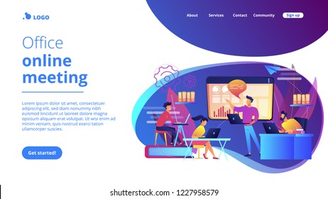 Business team with laptops look at digital presentation with charts. Digital presentation, office online meeting, visual data representation concept. Website vibrant violet landing web page template.