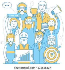Business team line design. Successful team work vector illustration.