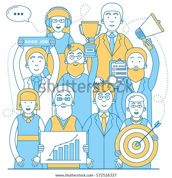 Business team line design. Successful team work vector illustration.