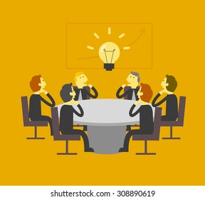 business team looking at light bulb