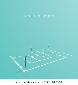 Business team looking for solution in a maze. Vector concept of finding solution, challenge, brainstorming and teamwork. Eps10 vector illustration.