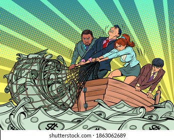 The business team makes a financial profit, like fishermen catching money in a net. White and black people, man and woman. Pop art retro illustration kitsch vintage 50s 60s style