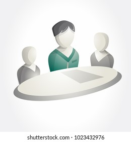 Business team meeting icon. Isometric pictogram. Leader at table.