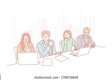 Business team, meeting, presentation, hr, partnership concept. Business meeting of young businessmen women partners. Group of creative businesspeople hr managers coworkers in office auditing together
