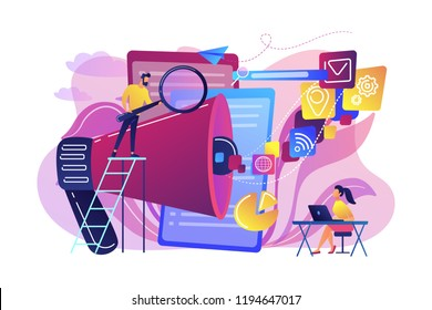 Business team with megaphone and media icons work on search engines optimization. Online marketing, seo tools concept on white background. Bright vibrant violet vector isolated illustration