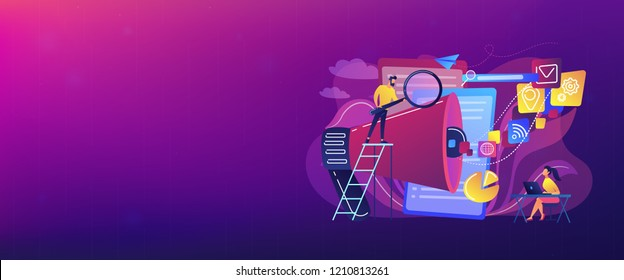 Business team with megaphone and media icons work on search engines optimization. Online marketing, seo tools concept on white background. Header or footer banner template with copy space.