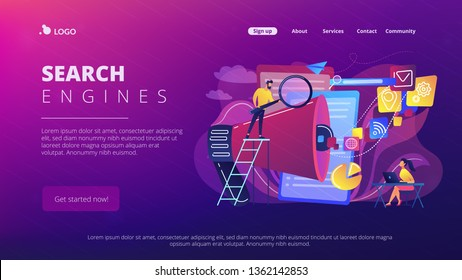 Business team with megaphone and media icons work on search engines optimization. Online marketing, seo tools concept on white background. Website vibrant violet landing web page template.