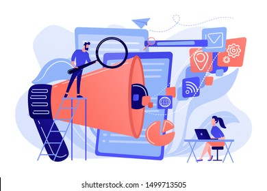 Business team with megaphone and media icons work on search engines optimization. Online marketing, seo tools concept on white background. Living coral blue vector isolated illustration
