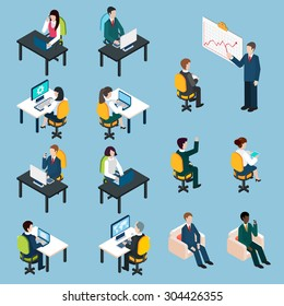 Business team members at work analyzing sharing presenting and collaborating  isometric pictograms set abstract isolated vector illustration