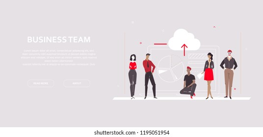 Business team - modern flat design style colorful banner on gray background with copy space for your text. A composition with employees, managers showing diagram sectors. Analytics, analyses concept