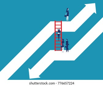 Business team moving up to growth from down graph. Concept business vector illustration. Flat design style.