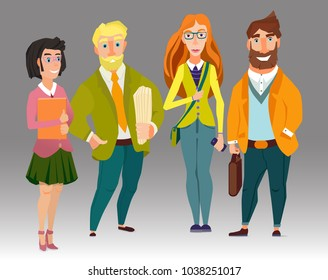 business team, office workers characters, vector illustration