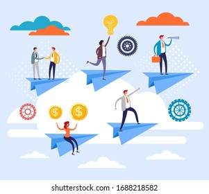 Business team office workers flying on paper plane. Teamwork concept. Vector flat graphic design cartoon illustration