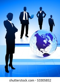 Business Team on Abstract Globe Background Original Illustration