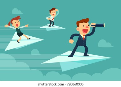Business team on paper airplanes. Businessman with spyglass and his team flying on paper airplanes searching for new opportunity.