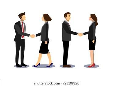 Business team, business people handshaking, successful deal after great meeting, cartoon flat-style vector illustration.