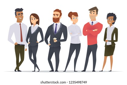 Business team. Professional workers happy partners group team building office male and female managers standing vector characters