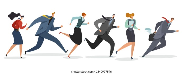 Business team running. Persons waving flag and jogging follow leader to professional triumph corporate winning vector illustration