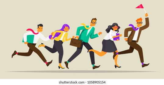 Business team runs for the leader with the flag. Way to success. Leadership concept. Vector illustration in a flat style