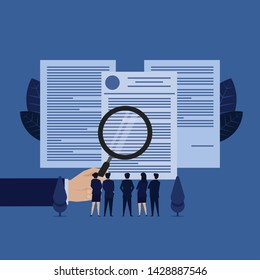 Business team see documents with magnify metaphor of terms and condition. Illustration For Wallpaper, Banner, Background, Book Illustration, And Web Landing Page.