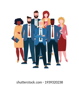 Business team standing in Pyramid with Leader in the heard. Group of multinational professional employee. Diverse colleagues and success Boss. Office team. Businessman in suit.