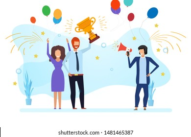 Business team success vector reward illustration win. Employee award flat people victory design. Happy prize trophy leader person. Champion cup mission teamwork concept. Office company career together