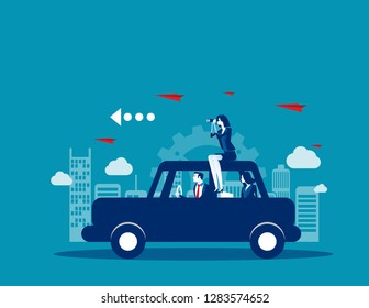 Business team travel on with car. Concept business vector, Transportation, Travel, Technology.