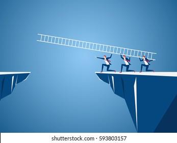 Business team using ladder to cross through the gap between hill. Business Teamwork ,risk and success concept. Cartoon Vector Illustration.