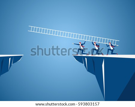 Business team using ladder to cross through the gap between hill. Business Teamwork ,risk and success concept. Cartoon Vector Illustration.