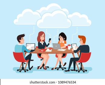Business team using laptops online at desk, business people sharing office documents, chat virtual conference on cloud technology cartoon vector concept