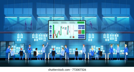 Business team work success concept. Online trading. Brokerage trading on the stock exchange vector in flat style design. Group of businessmen enjoys success deal on stock market illustration