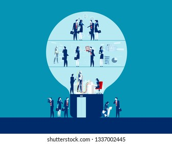 Business team working and analysis. Concept business vector, Bulb shaped, Flat cartoon character, Group of people.