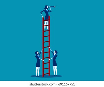 Business team working. Concept business vector illustration.