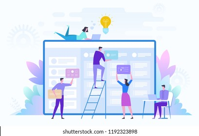 Business Team working on big project. Teamwork, communication, interaction, business process, agile project management concept. Vector illustration on white background.