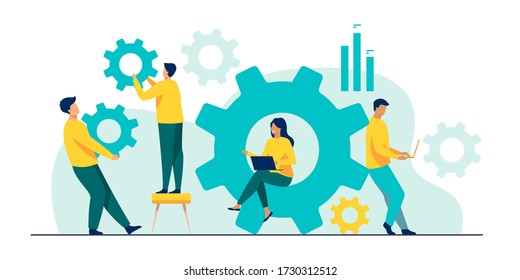 Business team working on cogwheel mechanism together. People carrying gears, using laptops . Vector illustration for teamwork, technology, solution, engineering concept