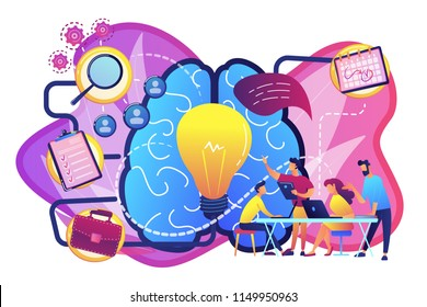 Business team working on project. Project management, business analysis and planning, brainstorming and research, consulting and motivation concept, violet palette. Vector isolated illustration.