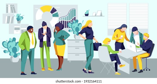 Business team working on project in office. Multicultural employees discussing and working in open space office. Collaboration process, business meeting concept flat vector illustration