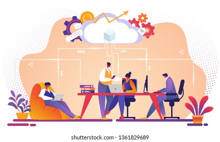 Business Team Working and Talking Together on IT Startup Business Using Wireless Cloud Computing Service. Characters Upload and Download Information Using Repository. Cartoon Flat Vector Illustration.