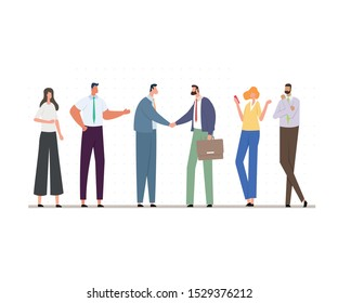 Business Teams Making Agreement. Group of People Dressed in Strict Suit, Holding Folders and Briefcases. Central Office Workers Shaking Hands. Cartoon Vector Illustration Isolated on White Background