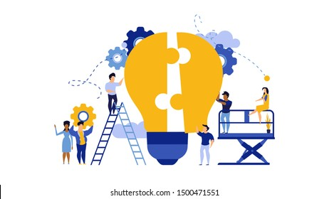 Business teamwork building lightbulb puzzle vector work illustration concept. Person businessman cooperation together jigsaw piece. Man and woman group unity fit part shape. Job support partner design