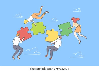 Business, teamwork, collaboration, coworking, partnership concept. Young group of businessmen women managers cartoon characters cooperate together assembling jugsaw puzzles Team building illustration.