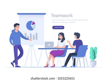 Business teamwork concept banner with text place. Man making presentation on conference.  Flat style vector illustration isolated on white background.