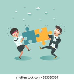 Business teamwork concept. Businessman and Businesswoman pushing puzzle pieces together. Business cooperation and integration. Vector illustration.