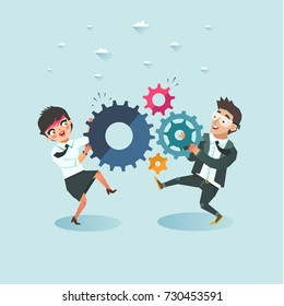 Business teamwork concept. Businessman and Businesswoman holding cogwheels. Business cooperation and integration. Vector illustration.