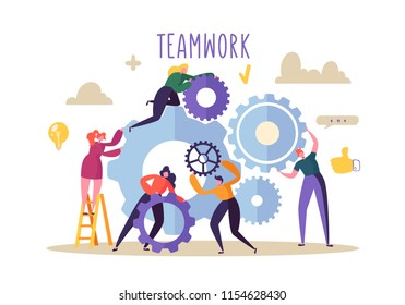 Business Teamwork Concept. Flat People Characters Running Gears Mechanism. Engineering Product Development. Vector illustration