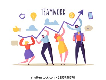 Business Teamwork Concept. Flat People Characters Working Together and Holding Graph Arrow. Financial Success, Cooperation, Banking. Vector illustration