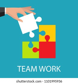 Business teamwork concept. Four businessman connecting puzzle. Vector